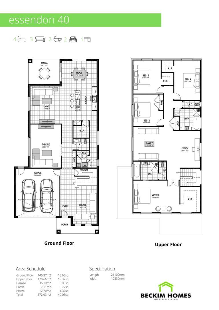 Double Storey Floor Plan of Essendon 40