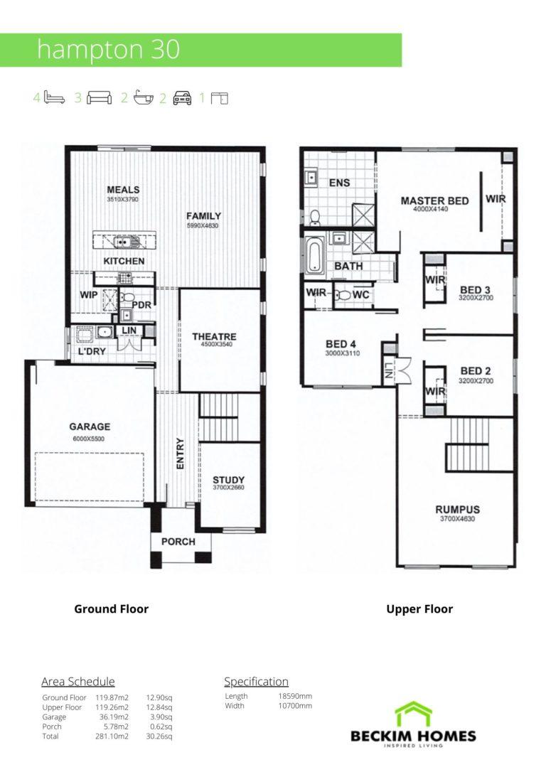 Double Storey Floor Plan of Hampton 30