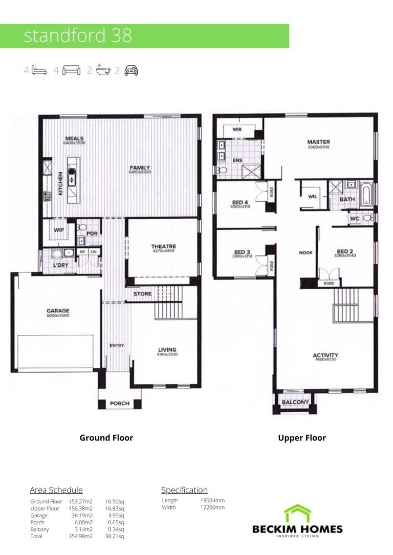 Double Storey Floor Plan of Standford 38