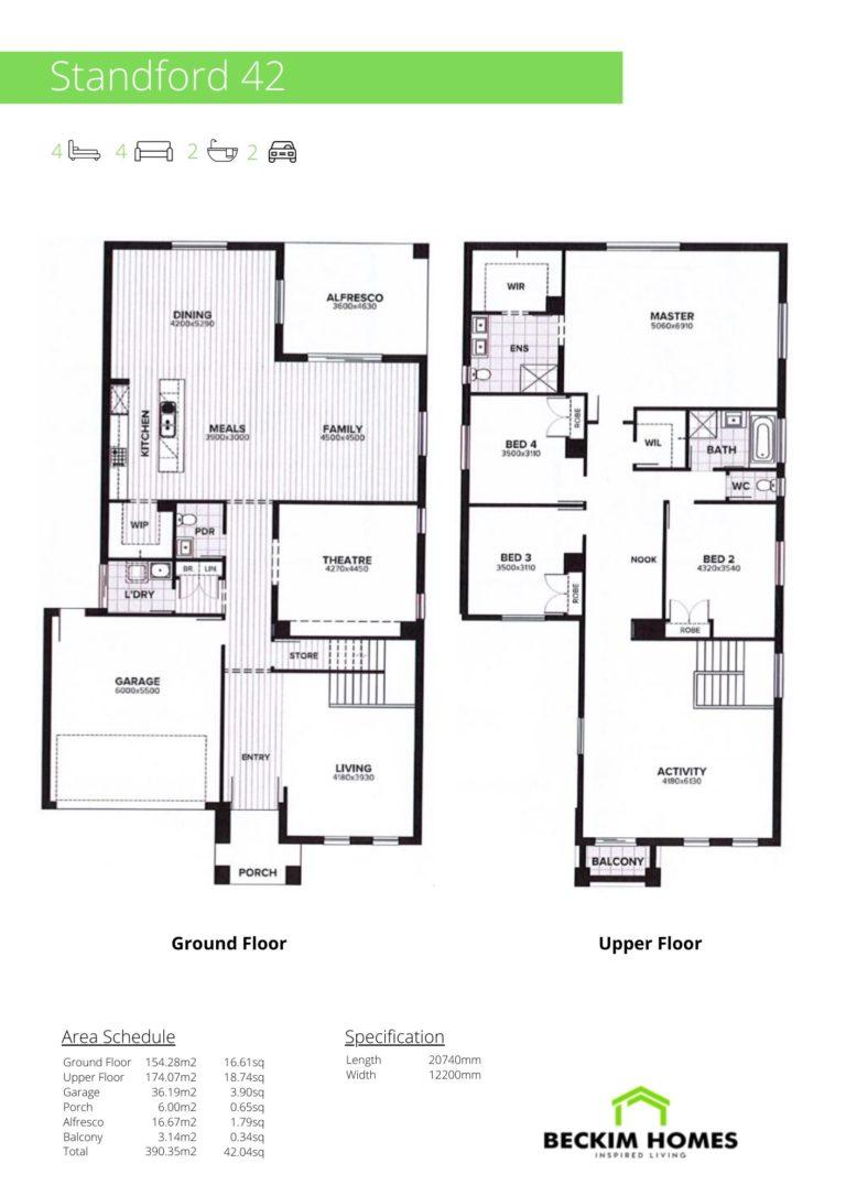 Double Storey Floor Plan of Standford 42