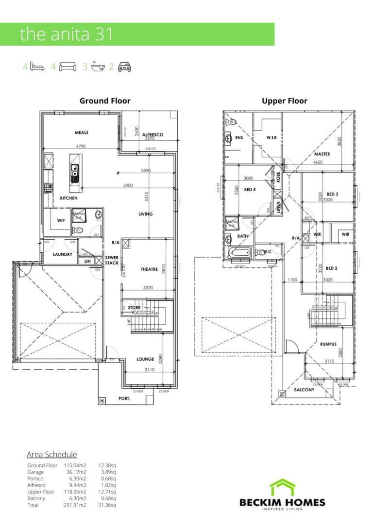 Double Storey Floor Plan of The Anita 31