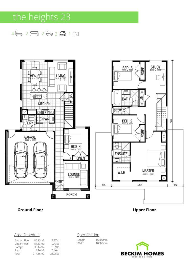 Double Storey Floor Plan of The Heights 23