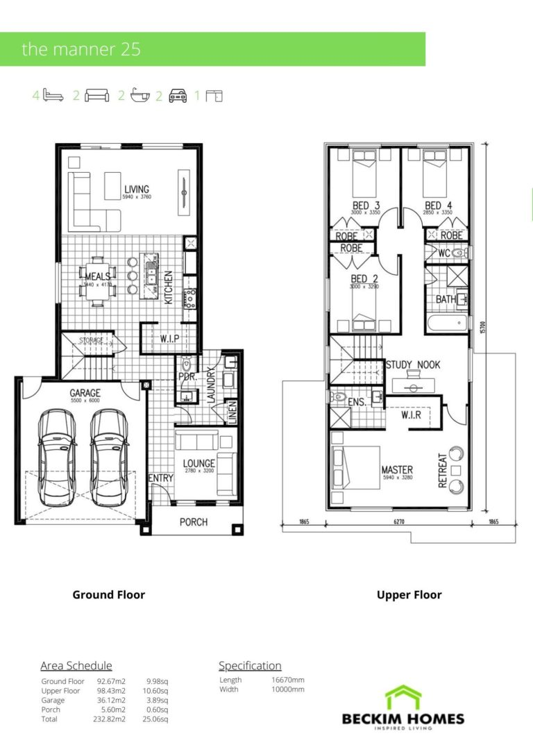 Double Storey Floor Plan of The Manner 25